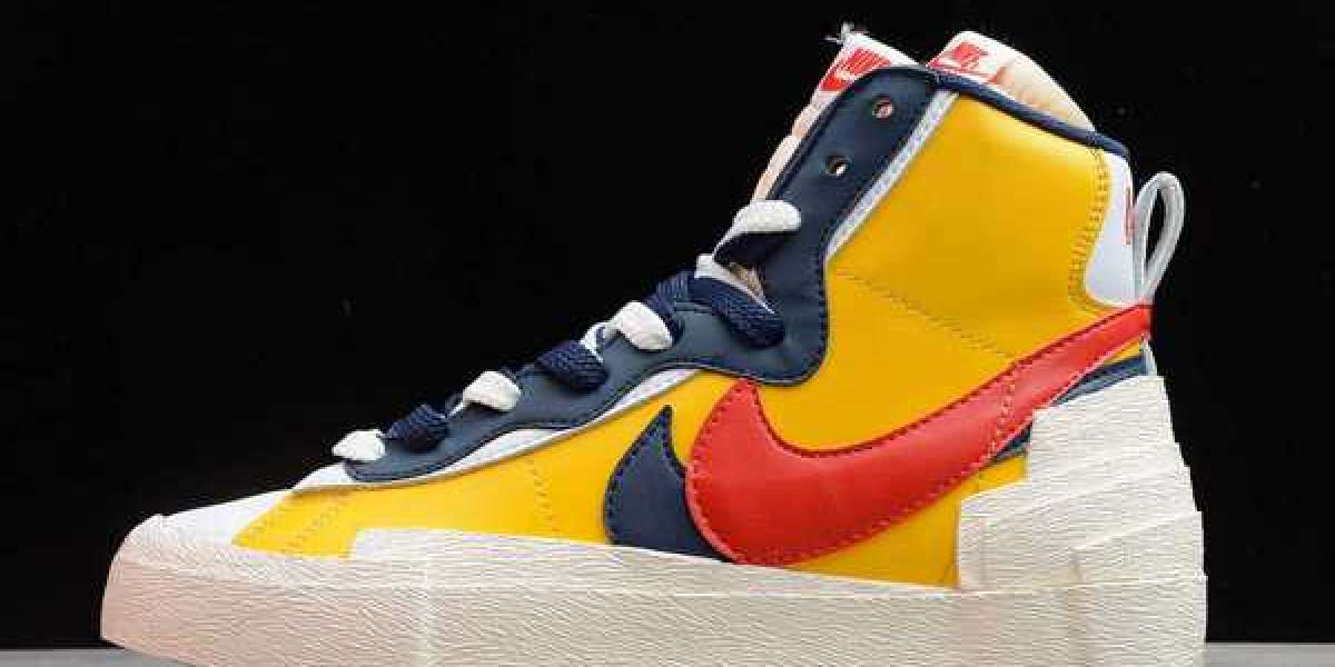 Mens Classic Sacai x Nike Blazer Mid Varsity Maize Midnight Navy To Buy BV0072-700